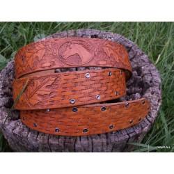 """Belt """" Horse - oak leaf, basket wave"""""""